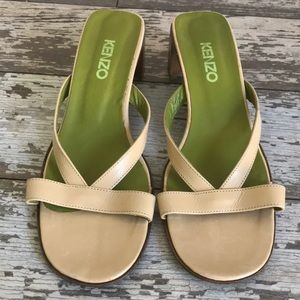 Kenzo nude leather slides